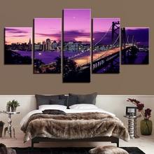 5 Panel Purple Sunset San Francisco Bridge Painting Canvas Print Modern Wall Art Home Decor For Living Room Artwork Picture