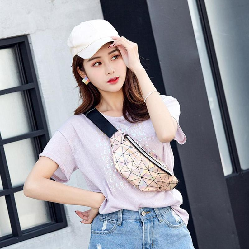 Cool Geometric Holographic Waist Bags Women Fanny Belt Packs Female Chest Money Phone Pouch Purse Bolso Femenino 2019 New
