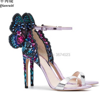 992a54a84376 Qianruiti Party Dress Shoes Women Embroidered Butterfly Wings Sandals Mixed  color High Heels Ankle Strap Stilettos