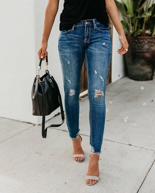 Newest Hot Women Stretch Ripped Distressed Skinny High Waist Denim Pants Shredded Jeans Trousers 2