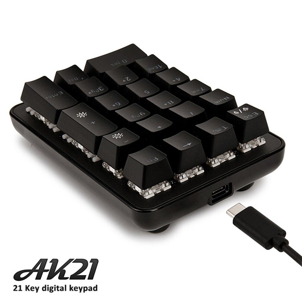 ajazz ak21 wired game mechanical single hand 21 key green axis mini keyboard keypad detachable. Black Bedroom Furniture Sets. Home Design Ideas