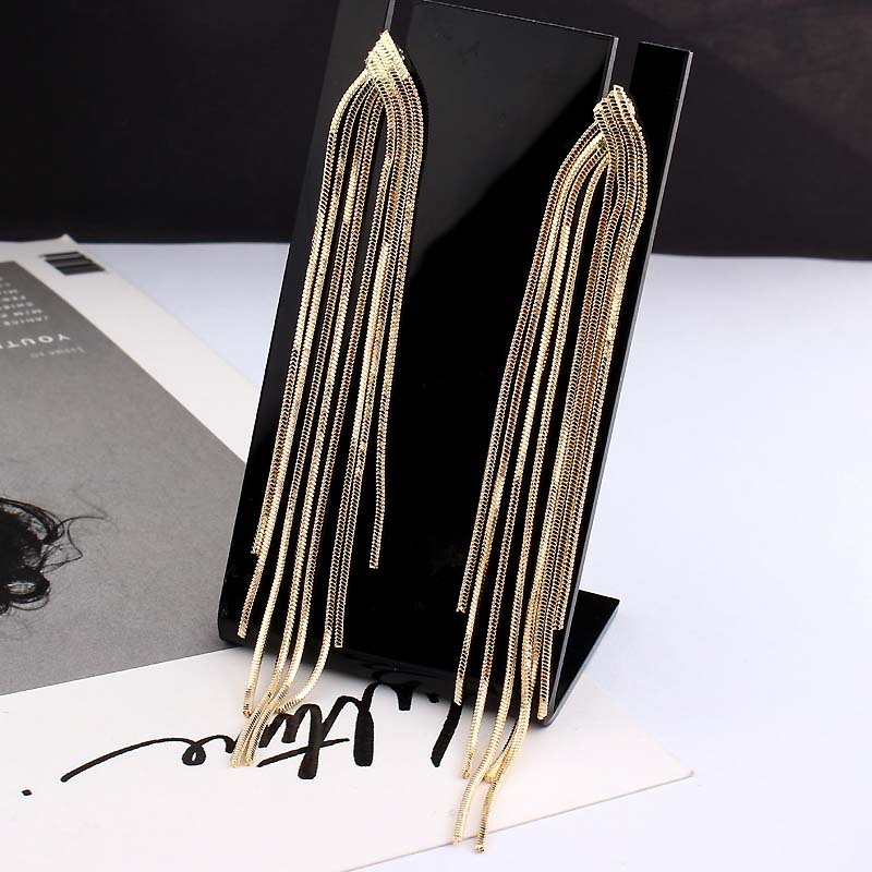 New Retro Gold Silver Color Long Hanging Earrings For Women Metal Tassel Ethnic Drop Earrings Hip Hop Street Jewelry Accessories