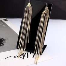 New Retro Gold Silver Color Long Hanging Earrings For Women Metal Tassel Ethnic Drop Earrings Hip Hop Street Jewelry Accessories a suit of retro metal leaf tassel necklace and earrings for women