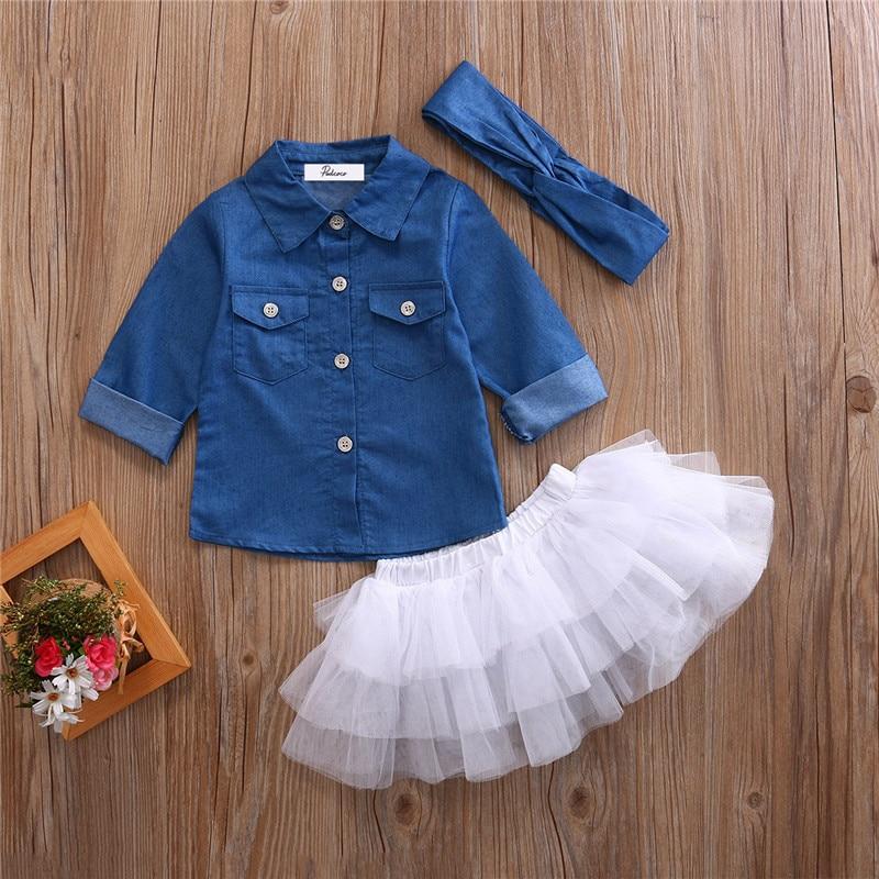 Летняя Одежда для девочек комплекты одежды для маленьких девочек Джинсовая рубашка Топ + юбка-пачка + повязка на голову; Комплект одежды из 3 ...