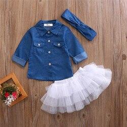 Roupa da menina do verão conjuntos de roupas da menina do bebê camisa de brim + saias tutu + bandana 3 pçs conjuntos de roupas 0-5t
