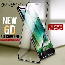 GULYNN 6D Aluminum Alloy Tempered Glass For iPhone 6 6S 7 8 Plus Full Screen Protector Film X  Cover 9H