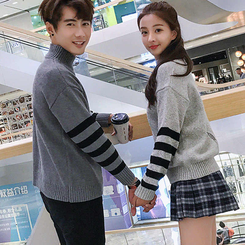 633b243313 ... Newest Couple Sweater Striped Female Knitted Pullover Plus Size  Turtleneck Women Cotton Warm Sweater Women Embroidery ...
