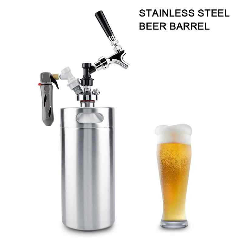 3.6L Stainless Steel Beer Keg With Faucet Pressurized Home Brewing Craft Beer Dispenser Growler Beer Keg System