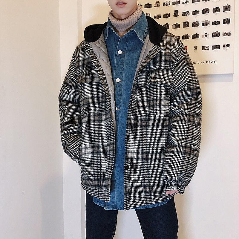Incluso Coreano Edición ropa Tamaño 2018 Cachemira Suelta Nueva Abrigo Casual Black Sombrero Celosía khaki Invierno Gruesa Amantes Algodón Acolchada De Gran TpZ0wAxq