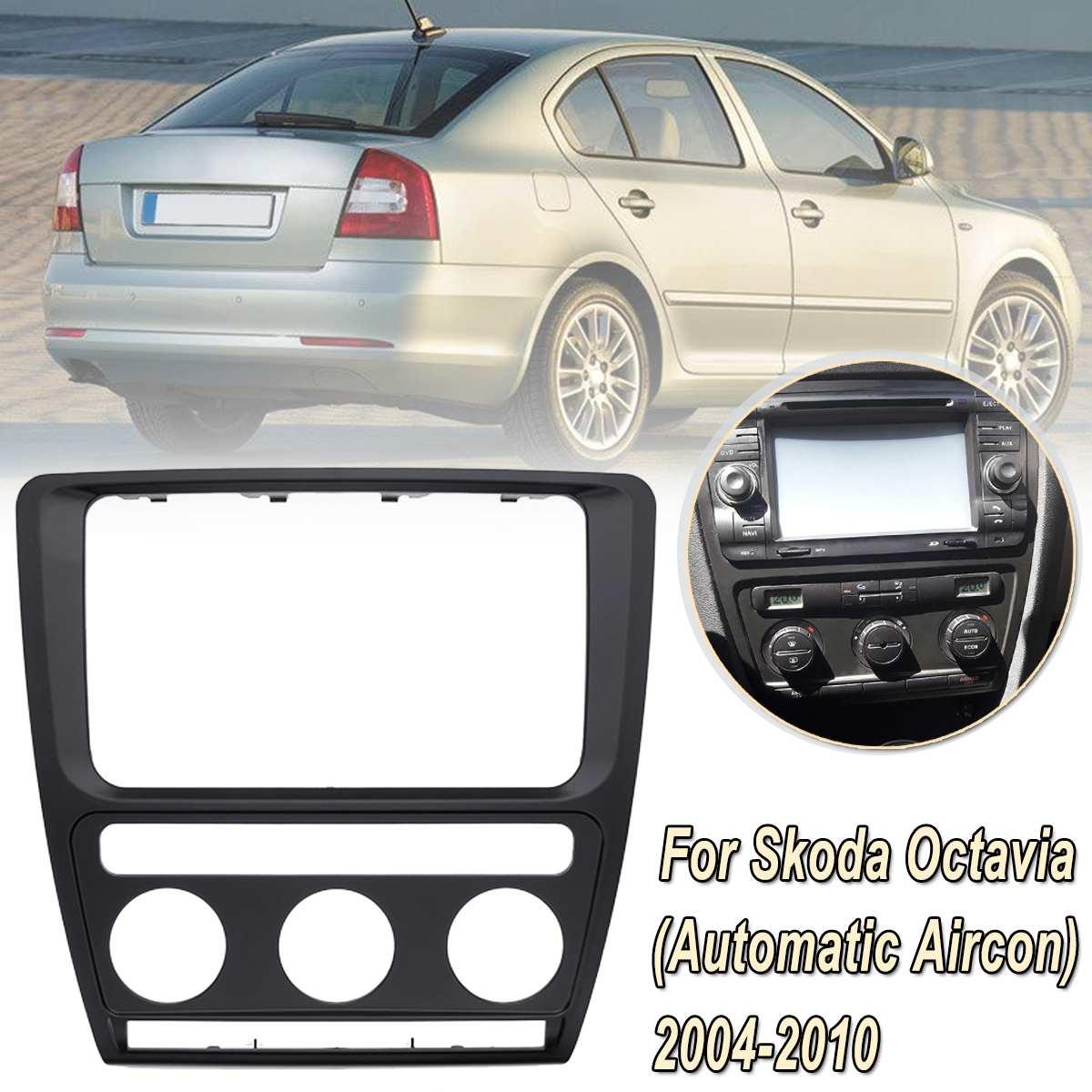 Radio Panel Dash Fascia Plate Frame For Skoda Octavia (Automatic Aircon)  2004-2010 Adio DVD Stereo CD Panel Dash Kit Trim
