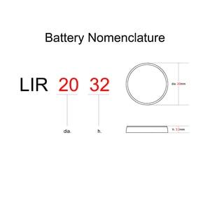 Image 3 - ボタン電池リチウムイオン充電式バッテリー LIR2032 置き換え CR2032 、リチウムコイン電池 lir 2032 3.6 12v 2 個