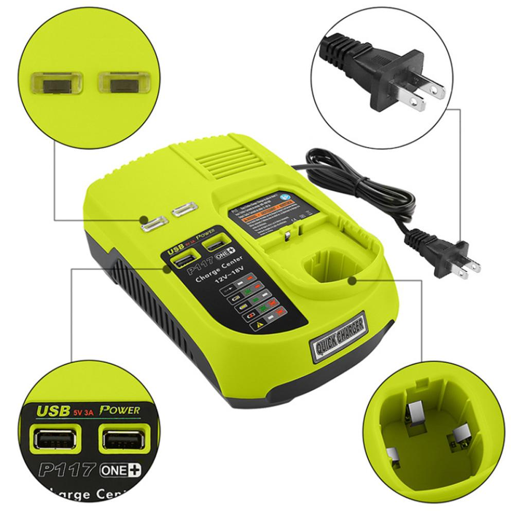 Lithium Nickel Battery Charger For RYOBI P117 12V 18V Lithium Nickel Universal Battery Charger With USB Interface