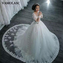 VAMOLASC Illusion O Neck Ball Gown Beading Court Train Wedding Dresses Lace Appliques Buttons Backless Bridal Gowns