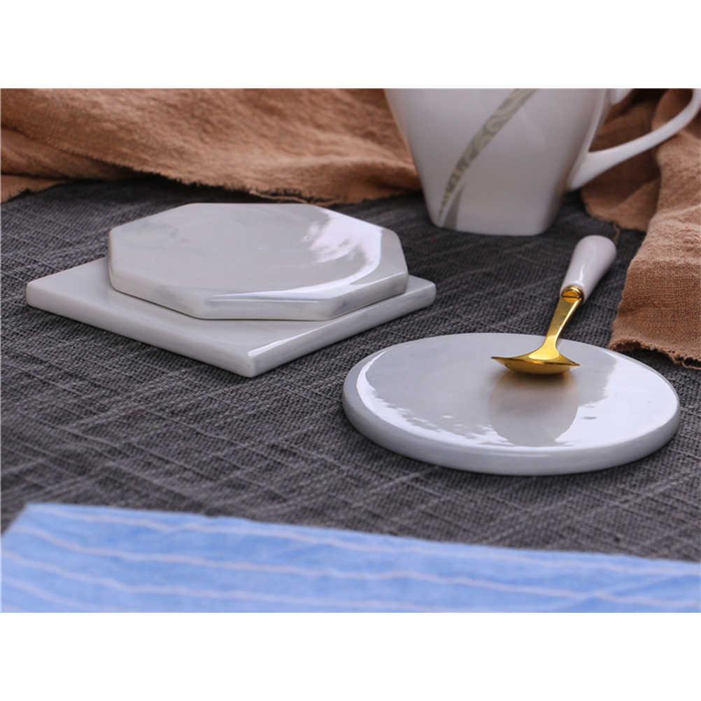6 шт./упак. круглая Мраморная Подставка для керамической чашки кофейная чашка обеденный стол изоляционная подставка для домашней кухни (серый)