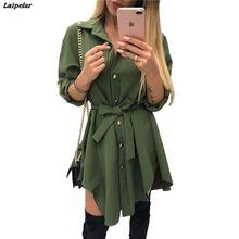Irregular tie waist shirt dress Women Spring 2018 wrap dress Long sleeve turn down collar Army green red short mini sundresses цена 2017