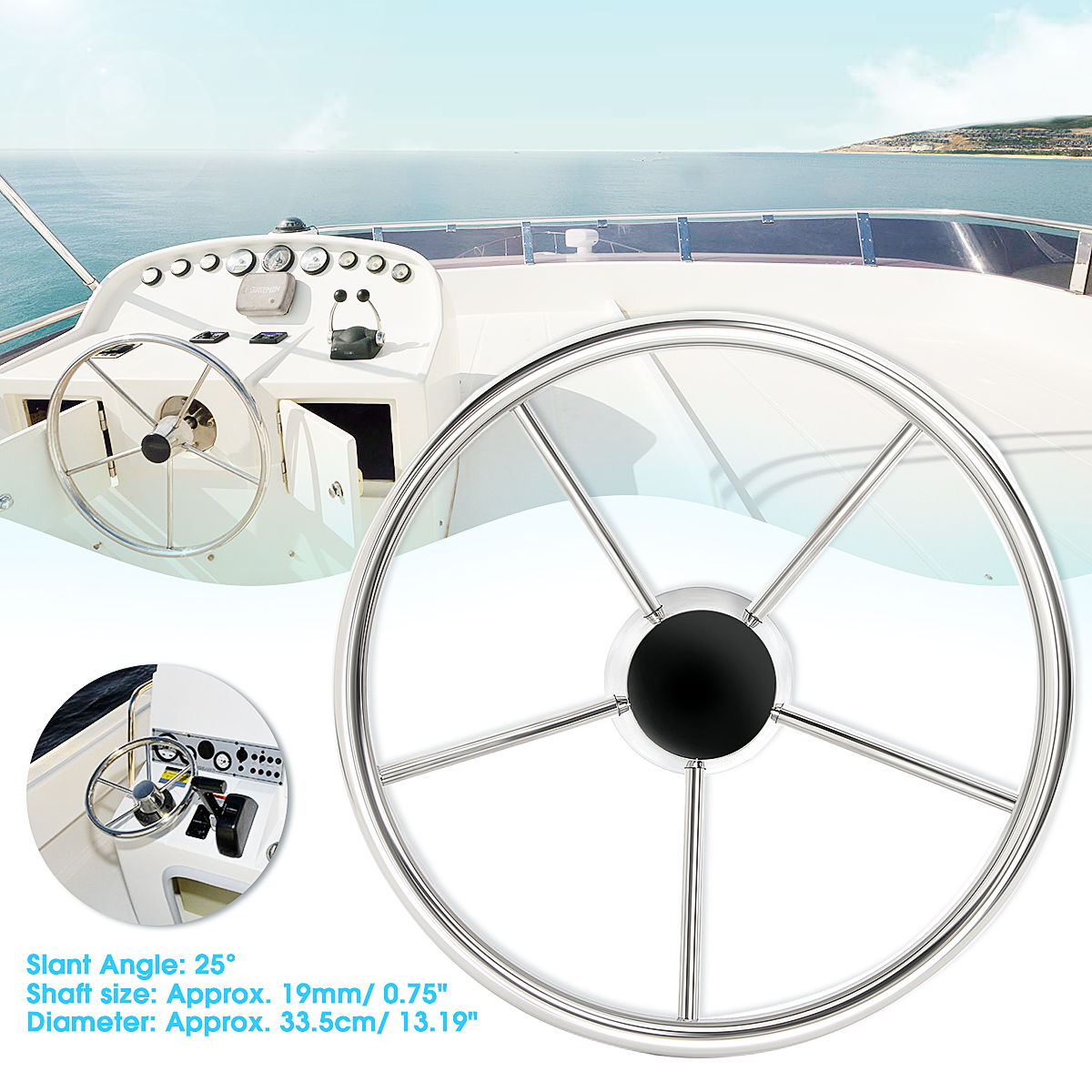 цены 33.5cm Boat Steering Wheel 25 Degree 5 Spoke For Marine Yacht Silver Polished 316 Stainless Steel Black Plastic Center Cap