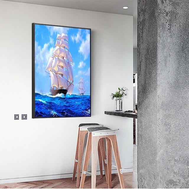 HUACAN 5D Diamond Painting Full Square Sea And Sailboat Embroidery Sale Picture Rhinestone Diamond Mosaic Home