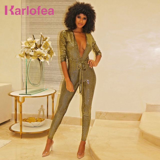 Karlofea Ladies Sexy Deep V Neck Sequin Jumpsuit Winter Long Sleeve Club  Party Wear Rose Gold 9d2b87244fc3