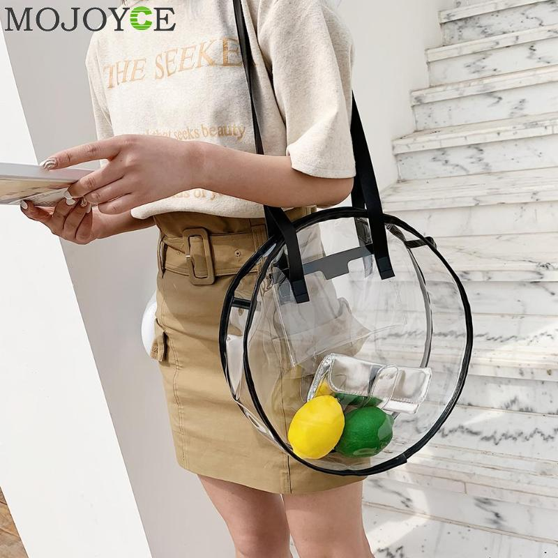PVC Transparent Plastic Handbags For Girl Designer Summer Beach Round Clear Bag Large Women Shoulder Bag Waterproof Shopping Bag