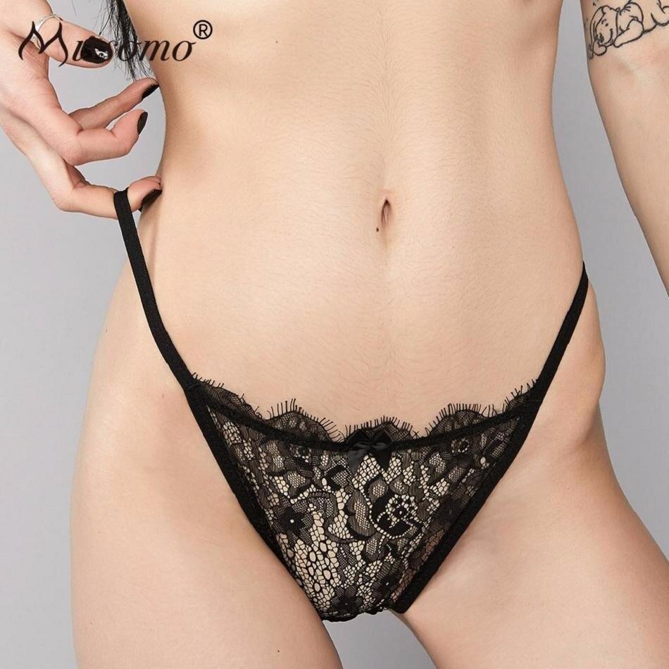 Missomo Women Sexy Thong Lace Porno Satin Panties G String Modis Silk VS Simple Eyelash Shell