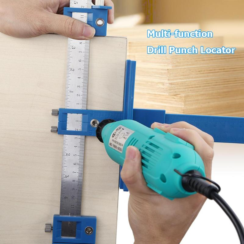 Punch Locator Drill Guide Holzbearbeitung Bohren Dowelling Loch Sah Einstellbare Holzbearbeitung Werkzeug