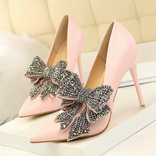 Brand Big Butterfly-Knot Shoes Woman Extreme Thin High Heels Wedding Pumps Sexy DS-A0190