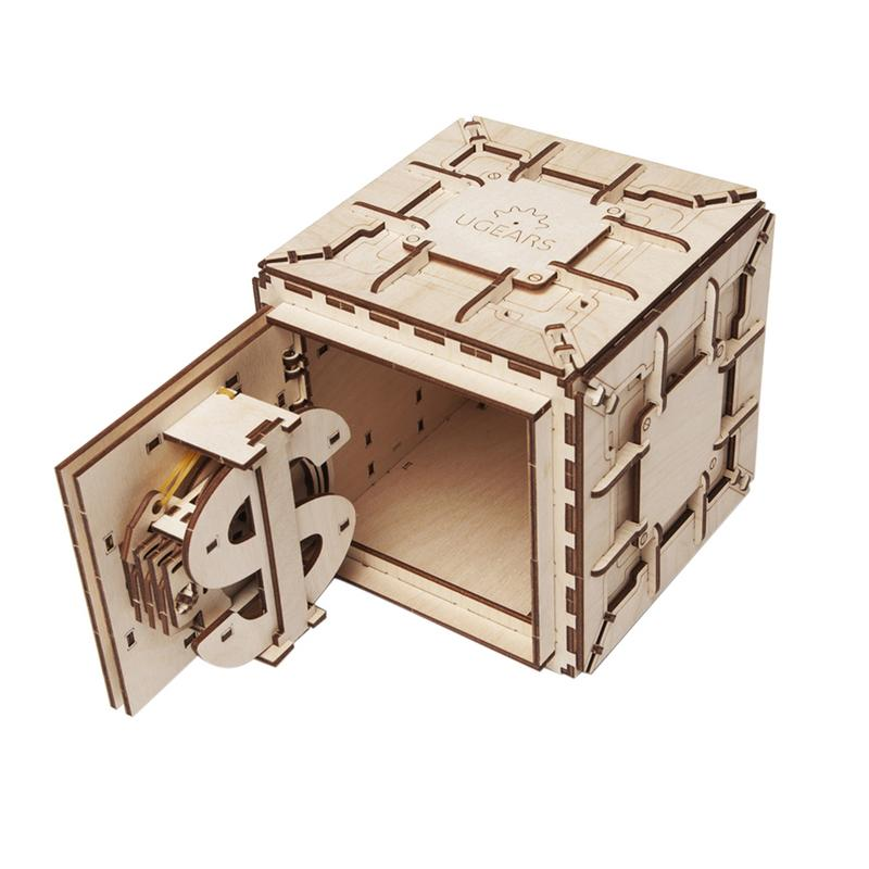 DIY Assembly Wooden Puzzle Toy Innovative Lock Box Mechanical Transmission Model