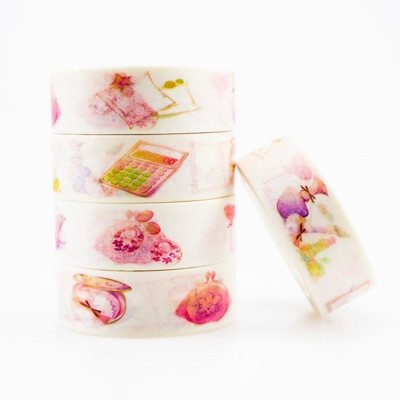 Japanese Pink Little Things Washi Masking Tape Sticky Color Decorative Tape Set DIY Decoration Office Stationery Scrapbook 1PCS