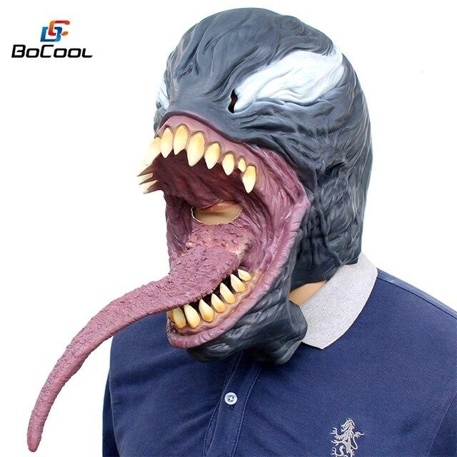 O Veneno do Dia Das Bruxas Máscara Black & Red Cosplay SpiderMan Superhero Veneno Edward Brock Escuro Capacete Adereços Festa de Halloween Máscaras De Látex
