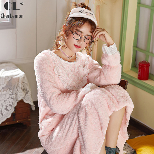 CherLemon Sweet Pink Plush Coral Velvet Nightgown Women Winter Princess  Nightdress Female Soft Warm Mid Calf Sleeping Dress b42bd7400