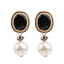 2019 New Atmospheric  Jewelry Geometric round Earrings For Women Simulate Pearls Rhinestones Earings Golden Round Bohemian