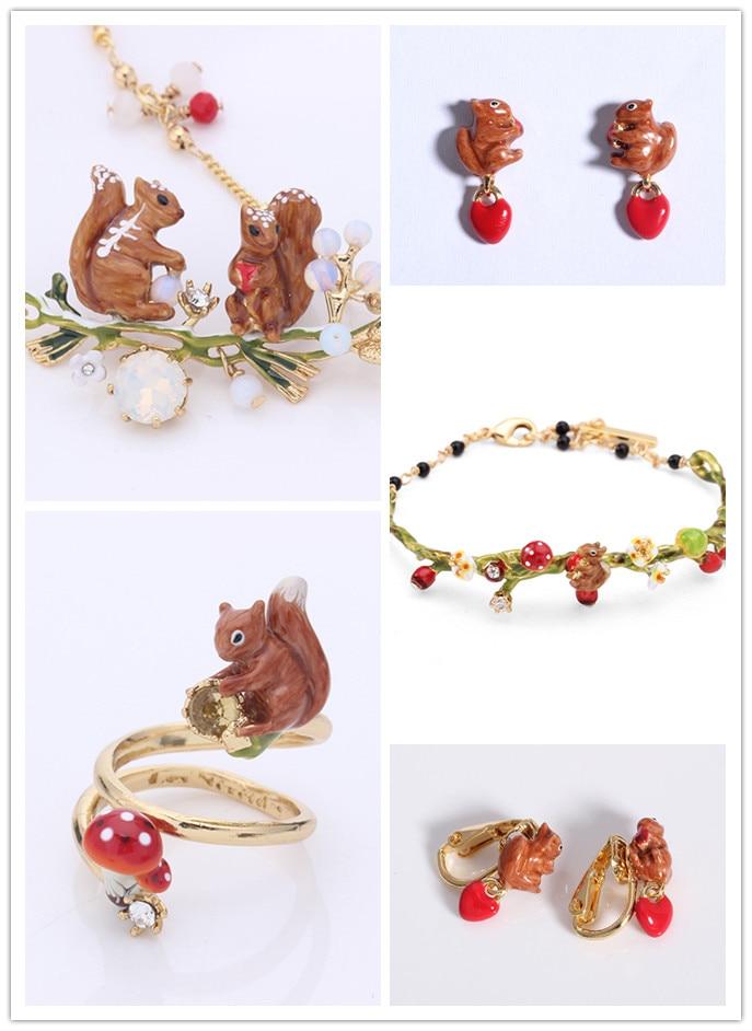 free shipping Lovely squirrel Enamel glaze earrings ear clamp ring necklace bracelet  jewelry setfree shipping Lovely squirrel Enamel glaze earrings ear clamp ring necklace bracelet  jewelry set