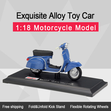 Maisto 1:18 Vespa 150 Sprint Veloce Alloy Diecast Sepeda Motor Model Fleksibel Roda Berputar Mainan untuk Anak Hadiah Mainan Koleksi