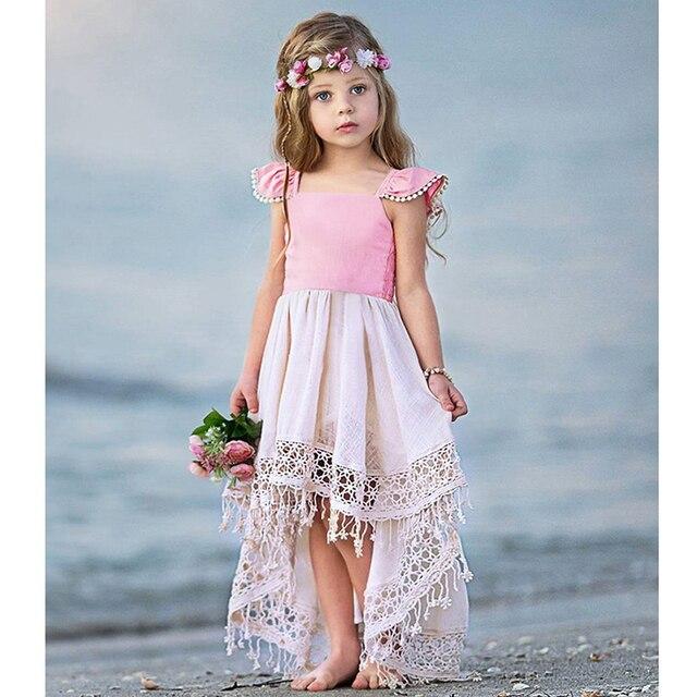 67c4607c43 Adorable tassel dress for girls beach dress summer kids sleeveless bohemian  style princess dress children costumes holiday