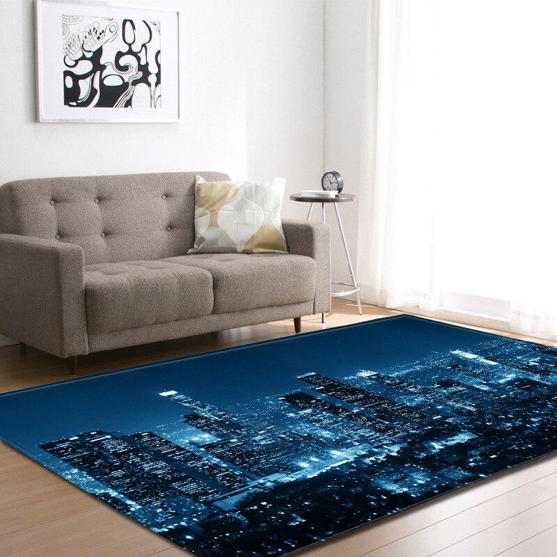 Moderne 3D animé ville nuit scène grand tapis pour maison salon tapis chambre Restaurant tappeto-avec taie d'oreiller cadeau
