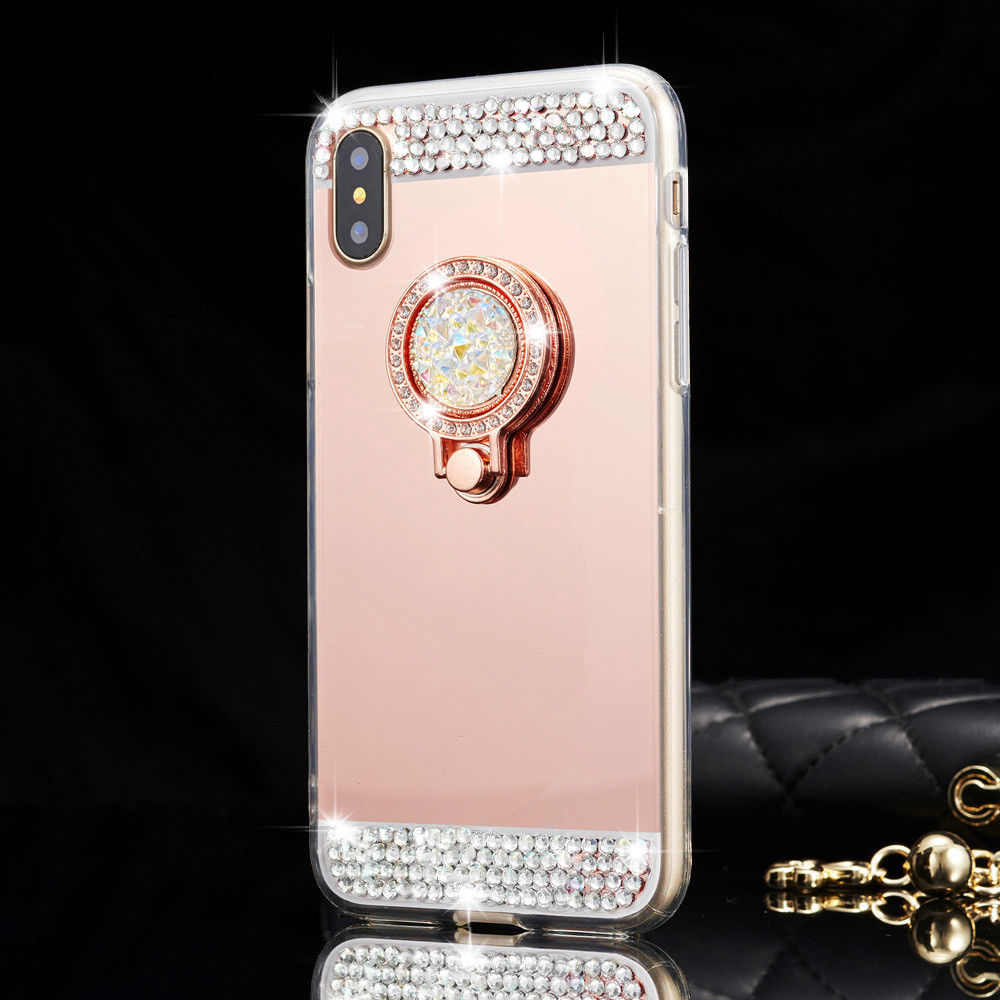 L FADNUT Glitter Diamond Phone Case For Huawei P20 Lite Finger Ring Mirror Cover For Mate 20 Pro P8 P9 Lite Holder Slim TPU Capa in Fitted Cases from Cellphones Telecommunications