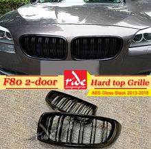 1 Pair F80 Front Grille ABS Gloss Black For M-Style Grills 2-doors Hard top Double Slats Kidney 2013-2018