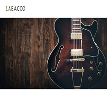 Laeacco Guitar Western Cattle Wood Board Backdrop Photography Backgrounds Customized Photographic Backdrops For Photo Studio