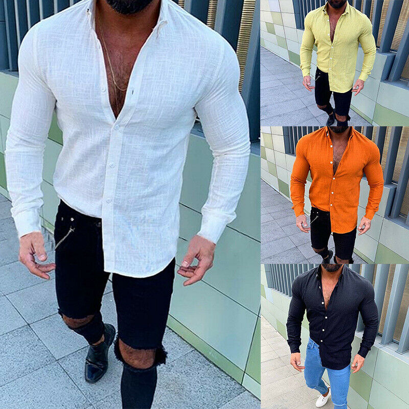 2019 Newest Men's Casual Linen Long Sleeve Shirt Summer Cool Loose V-Neck Shirts Blouses Tops M-3XL