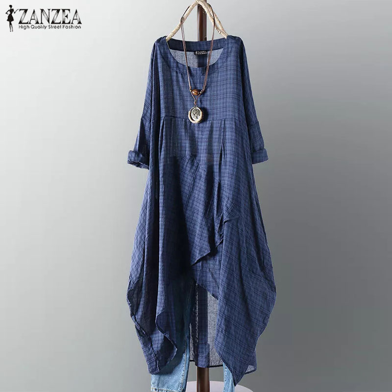 2019 Plus Size ZANZEA Summer Dress Women Casual Long Sleeve Vintage Check Plaid Irregular Long Shirt Vestiso Sundress Female