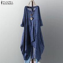 2021 mais tamanho zanzea vestido de verão feminino casual manga longa xadrez xadrez irregular camisa longa vestido feminino