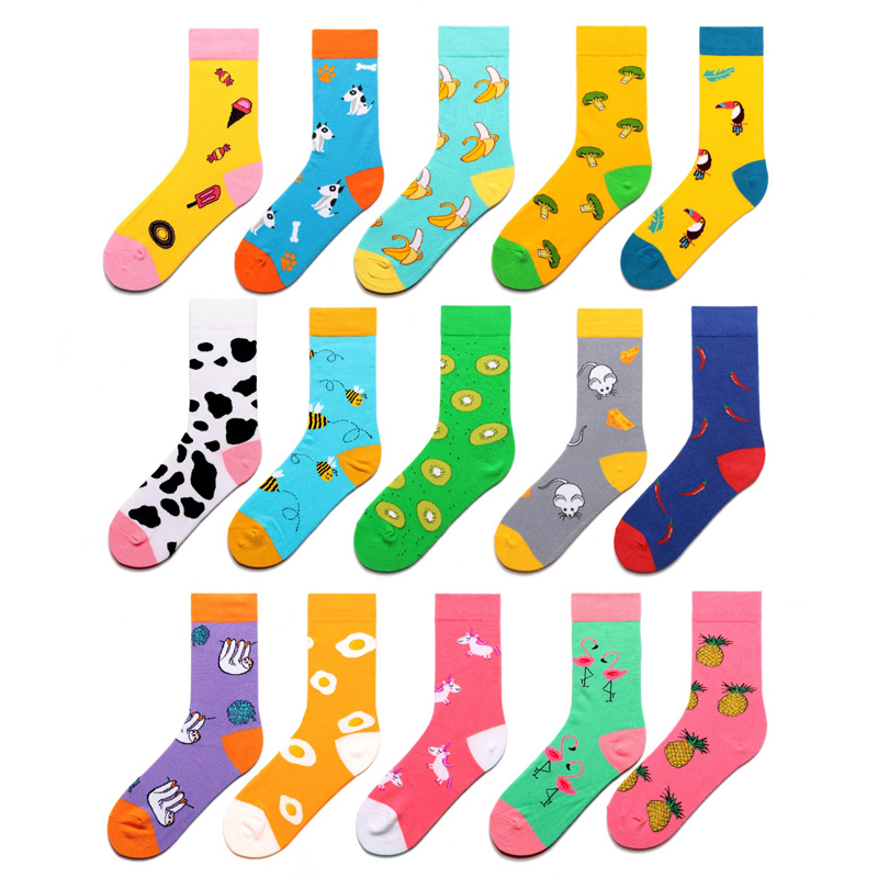 Women   Socks   Cartoon Animal Flamingo Puppy Pineapple Pepper Kiwifruit Fruits Happy Cute Funny Female Hip Hop Skate Hosiery Autumn