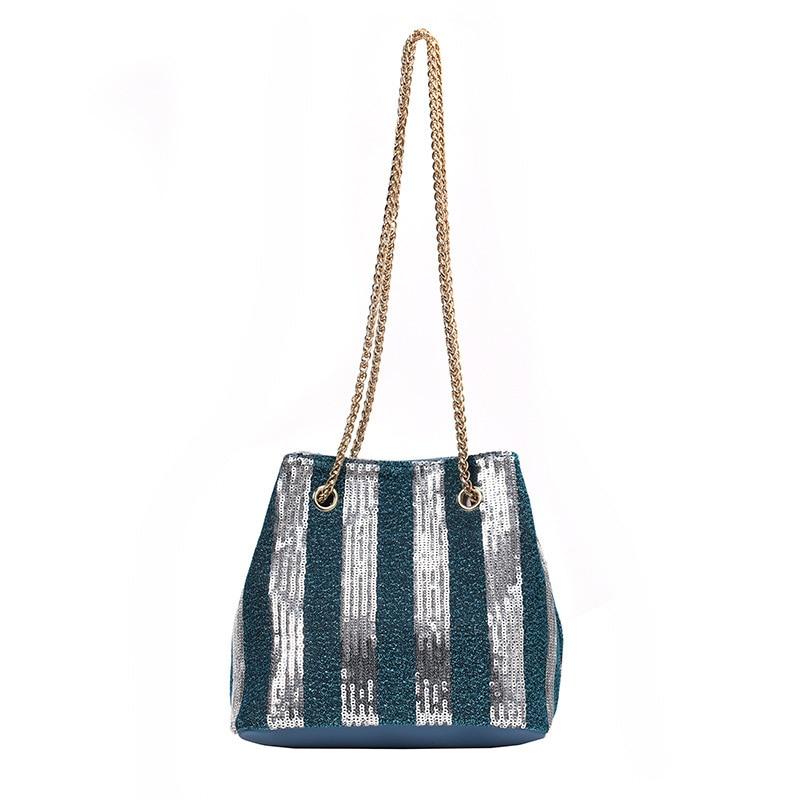 Women's Shoulder  Ins Sequins Striped Chain Bucket Bag PU Leather Korean Version Handbag Small Summer