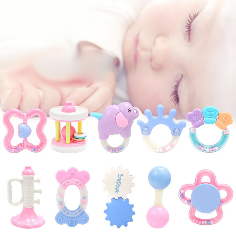 10pcs Rattles Baby Crib/Pram Decoration Toy Toddler Infant Hanging Hand Bell Intellectual Cartoon Teether