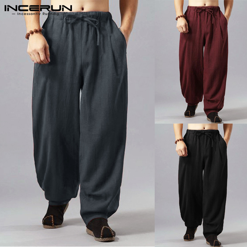 Casual Pants Trouser Jogger Wide-Leg Harajuku Loose Fitness Men Harem Baggy Cotton Chinese