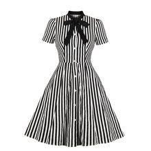 Sisjuly Vintage Stripe Midi Dress Women Summer 1950s Bow Collar Elegant Office Casual Goth Ladies Retro Rockabilly Dresses