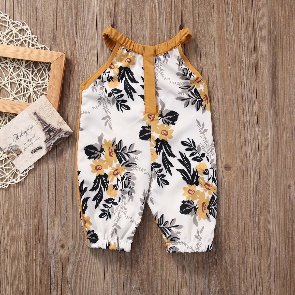 New Style 2018 Newborn Baby Kids Girls Sleeveless O Neck Print Romper Jumpsuit Outfits