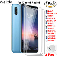3PCS 9h Tempered Glass Screen Protector Film For Xiaomi Redmi Note 6 Pro 7 5 4 X 4x 6a 4a Mi Mix 2s 3 Protective