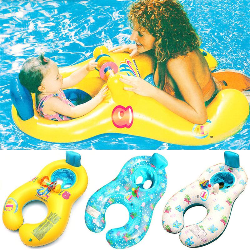 Mother Children Inflatable Ring Swimming Circle Baby Float Double Swimming Pool Accessories Inflatable Wheels Swim-trainer Ring