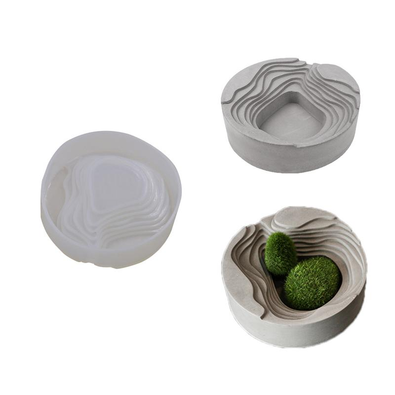 New Silicone Mold Cement Molds Terraces Concrete Round Shape Terraced Fields Muti-Meat Flower Planter Mould For Home Decoration